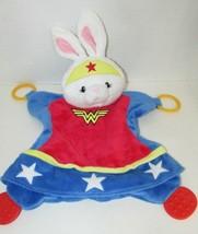 Baby Gund Wonder woman bunny rabbit teether Security Blanket red white b... - $22.27