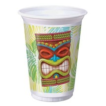 Tiki Time 8 Ct 16 oz Plastic Tumbler Cups Summer Pool Party Luau - £4.33 GBP