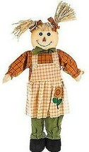 """HARVEST TIME Standing Girl Scarecrow With Pigtails 34"""" X 16""""X 4"""" Fall Decor - $25.00"""
