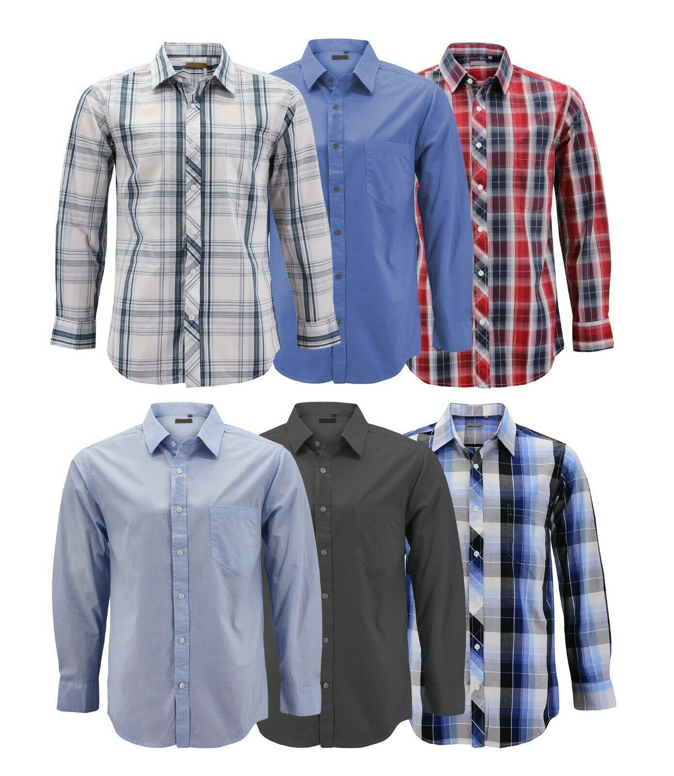 Men's Cotton Casual Long Sleeve Classic Collared Plaid Button Up Dress Shirt