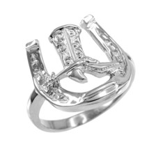 Sterling Silver Horseshoe Cowboy Boot Men's Ring - £21.51 GBP