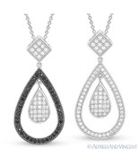 Tear-Drop Charm Micro-Pave CZ Crystal Pendant 925 Sterling Silver Chain ... - $38.39