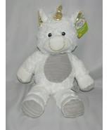 BABY Plush SPARK Create White UNICORN Rattle Gray Gold Stuffed Animal To... - $35.63