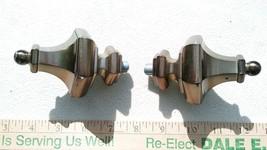 7TT36 Pair Of Finials, Diecast Metal, Bronze Finish, A Few Scratches, Good Cond - $16.60
