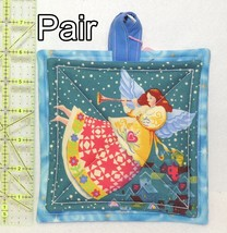Pot Holders - Pair - Angels With Quilted Gowns & Trumpets on Teal - PHDR - $8.00