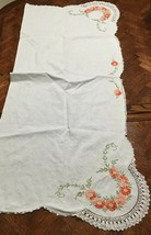 Vintage Hand Embroidered Table Runner Tablecloth, Crocheted - Pink Flowe... - $29.09