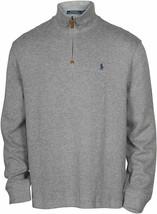 POLO Ralph Lauren Mens Quarter Zip French Rib Cotton Sweater Grey Heath... - $59.37