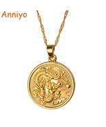 Anniyo Auspicious Dragon Pendant $ Thin Chain Gold Color Jewelry Mascot ... - $13.23