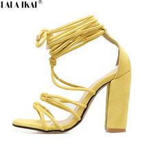 Ankle Sandals Sexy IKAI Up Heels Lace Gladiator High Strap Sa Heeled LALA Women qYpBwnxtxz