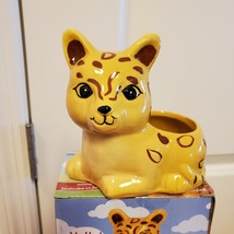 """Ceramic Animal Planter for succulents or small plants, 4"""" yellow cat, Jay Jaguar image 2"""