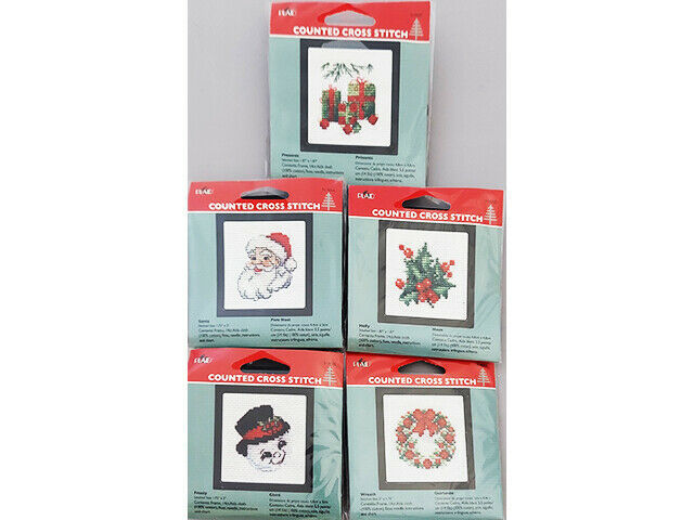 Plaid Counted Cross Stitch Kit With Frame, Set of 5