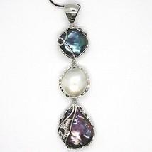 Silber Anhänger 925, Drei Perlen Barock-Stil, Disco Tropf, Zirkonia, Made Italy image 1