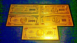<GOLD Banknote Set With COA>($1B,$1M,100,000,10000,5000,1000,500)FREE S&H  - $18.91