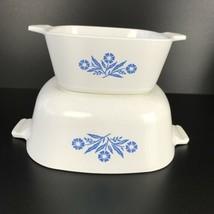 Vtg Corning Ware Blue Cornflower 1 1/2 Qt  & 2 3/4 Cup Casserole Dishes USA - $24.74