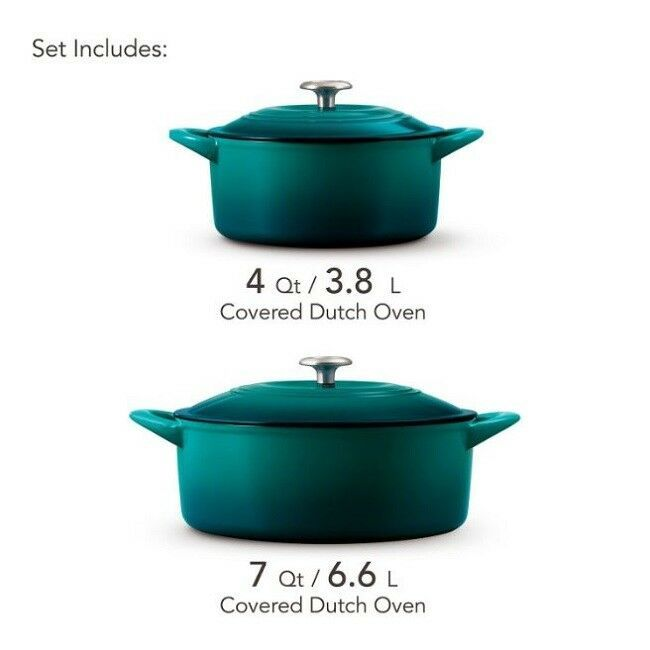 Cast Iron Dutch Oven Set Porcelain Enameled 4qt 7qt Kitchen Cookware Lids 2 Pack