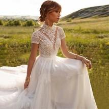 Vintage Boho Wedding Dress-Ivory Elegant Lace Tulle Boho Bride Dress - $499.00