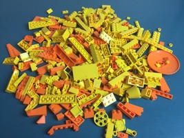 3/4 lb Yellow & Orange LEGO Pieces 100+ Bricks Parts Big Small Special L... - $15.83