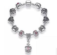 You Personalize - Silver Charm Bracelet Pink Crystals like Pandora Brace... - $11.00