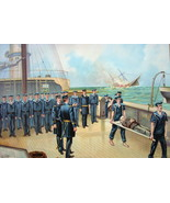 US NAVY in 1864 Sinking of Confederate Sloop-of-War Alabama - COLOR Lith... - $18.90