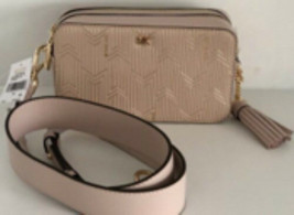 Michael Kors Metallic Deco Leather Small Camera Bag Crossbody Soft Pink ... - $103.00