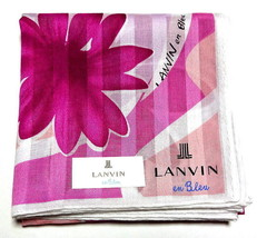 LANVIN Handkerchief scarf bandana pocket square Cotton Flower Pink Auth New - $26.09 CAD