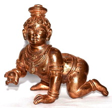Bal Krishna Idol / Krishna Idol In Pure Solid Copper - $173.25