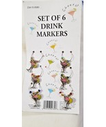 Wine Glass Charm Markers Set of 6 Silver With Beads and Charm - $3.99