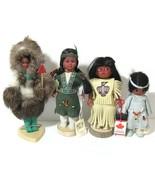 Native American Doll Genuine Fur Leather Figure Set Indien Art Eskimo Ca... - $29.65