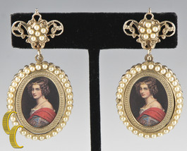 """Vintage Gold Tone Screwback Non-Pierced """"Photo Brooch"""" Earrings Great Gift! - $356.39"""