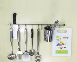 Stainless Steel Brushed Hanging Rail for Kitchen Utensils Wall Mounted R... - $17.53+