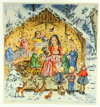 Advent Calendar, Nativity Mary Jesus Angels, Children Vintage American G... - $11.99