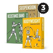 NewMe Fitness Exercise Cards 3 Pack of 62 :: Bodyweight, Suspension, Res... - $80.30