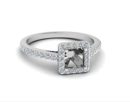 Semi Mount FG-SI 0.48Ct Round Diamond Side Stone Engagement Ring - $438.00