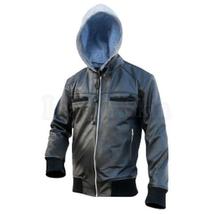 Black Cotton Hoodie Leather Jacket - $220.00