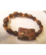 brown natural stone bracelet beaded stretch acrylic beads gemstone handmade - $3.99