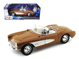 1957 Chevrolet Corvette Bronze 1/18 Diecast Model Car by Maisto - $65.99