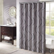 "Charcoal Grey & Black Geometric Embroidered Fabric Shower Curtain - 72"" ... - $49.99"