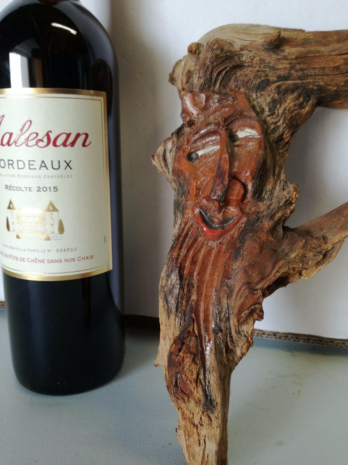 Rare Antique Black Forest HandCarved Wooden German Root face Hobbit Gnome décor