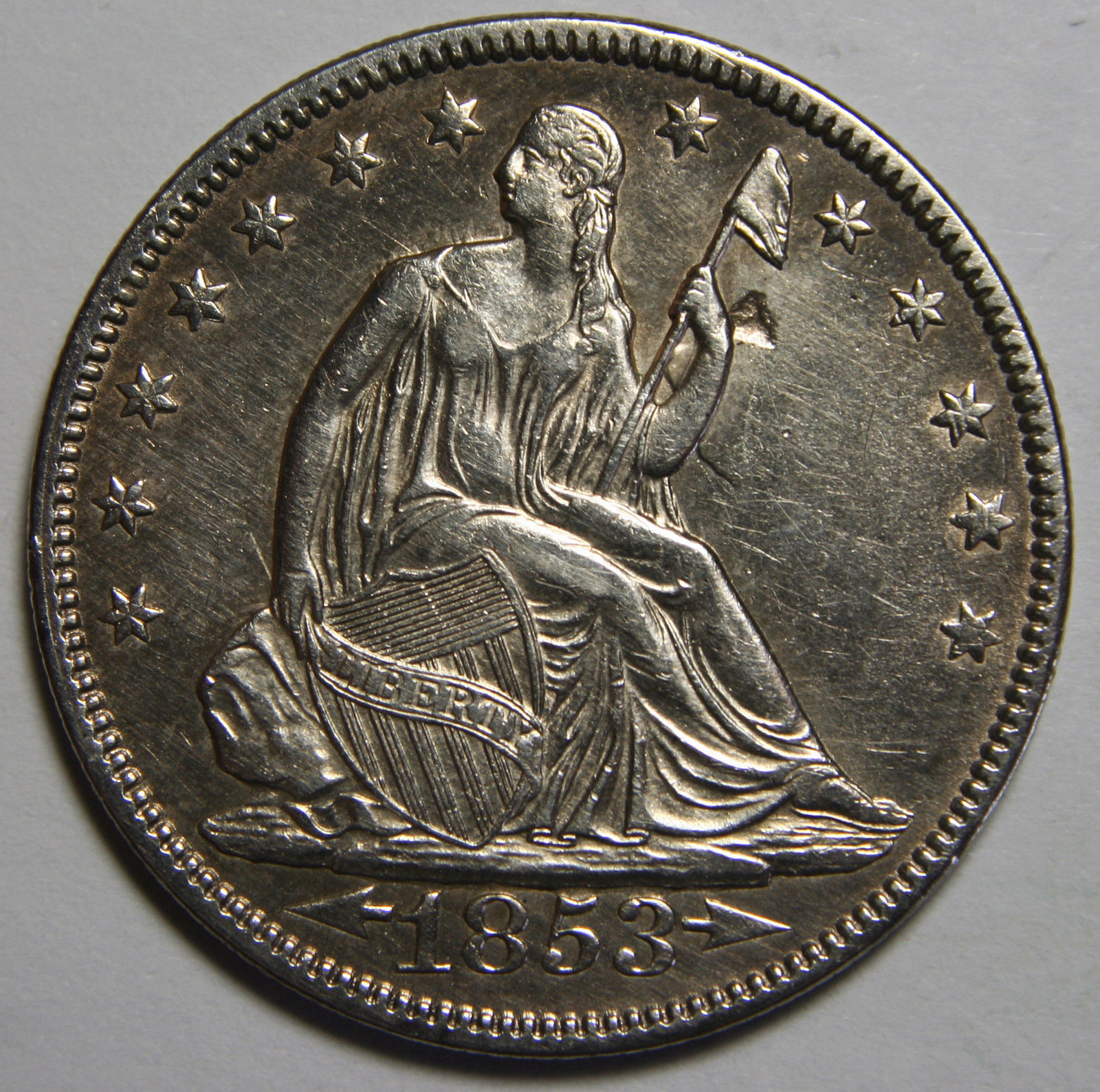 1853 Arrows & Rays Seated Silver Liberty Half Dollar 50¢ Coin Lot# MZ 4075