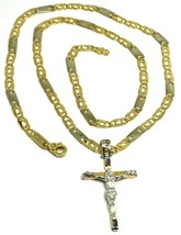 18K YELLOW WHITE GOLD FLAT ALTERNATE CHAIN, 20 INCHES & WORKED JESUS CROSS image 1