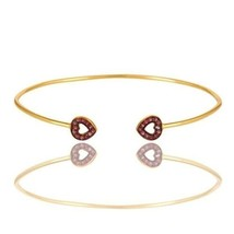 Pink Sapphire Gemstone Accent Heart Bangle Bracelet In 18K Gold Over Silver - $37.62