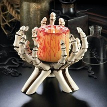 "Awesome Skeleton Hands Finger Pillar Candle Holder NEW 7"" Halloween Deco... - €19,46 EUR"