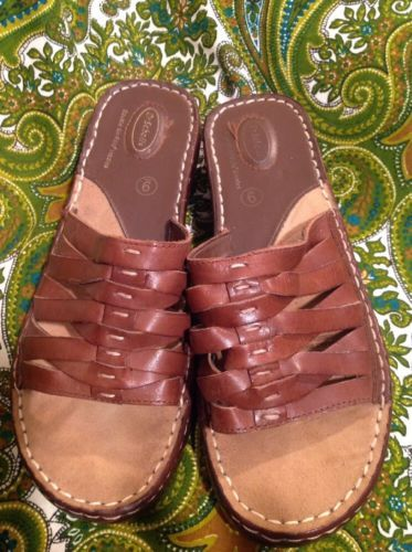0b0b0b19d848 DR. SCHOLL S WOMEN S DOUBLE AIR PILLO INSOLES BROWN LEATHER WEDGE SANDALS 9M