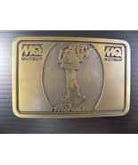 Vintage SOLID BRASS BELT BUCKLE MIKASA MQ Multiquip Rectangle 3.25 x 2.25 - $9.89
