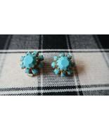 Vintage 1.8cm Faux Turquoise Clip Earrings - $13.66