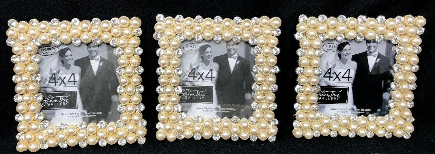 "3 Green Tree Gallery 4 x 4""  Photo Frame Rhinestones, Pearls NEW"
