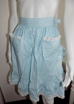 Flirty Blue Apron Bow Tie Back Two Front Pockets White Lace Trim Fish Pa... - $17.82