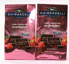 2 Ghirardelli Dark Chocolate Raspberry Squares Luscious Filling Ultimate Quality - $23.99