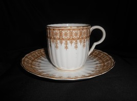 Royal Worcester Cup & Saucer Set Of 6 Gold Lace Antique China Fine Dining - $61.75