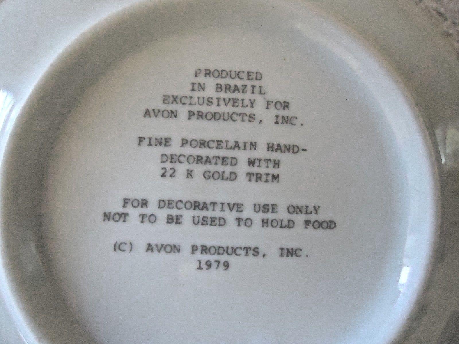 Vintage Set Of 2 1979 Avon Fine Porcelain 22 K Gold Trim Collector Plates  image 7